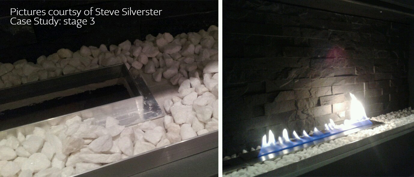 How can a long line of fire be produced in a home without a flue using bioethanol fireplace? DIY and ribbon fires can be easily created using bio containers