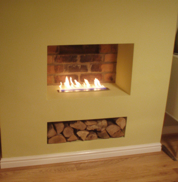 Ribbon flame in old chimney breast bio fires gel Fireplace ideas no fire