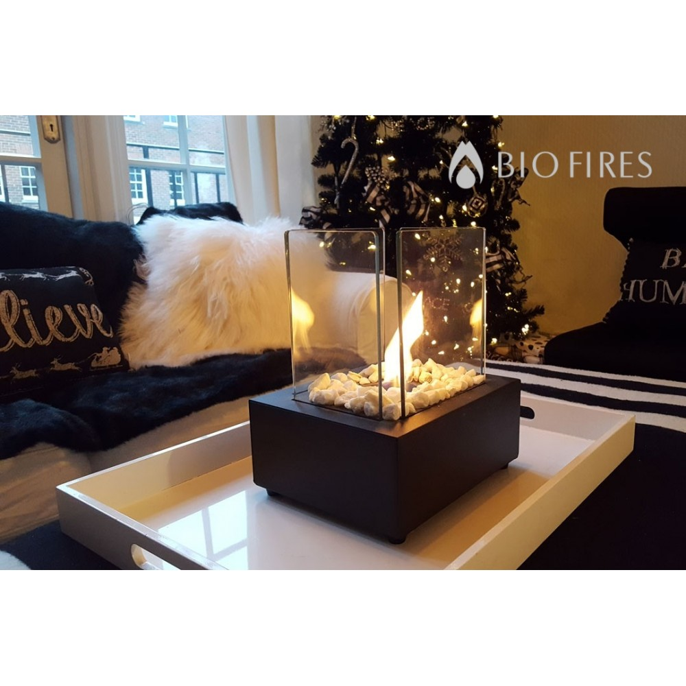 glass cube ii black bio ethanol burner bio fires gel fireplaces