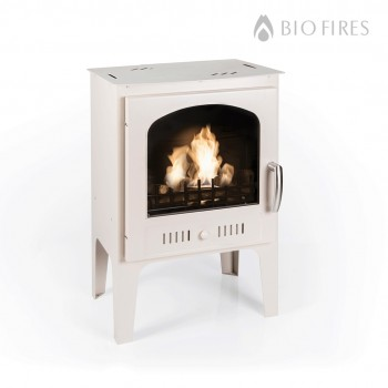 NEW - Cream Wood Burner Style Traditional Bioethanol Stove With Logs