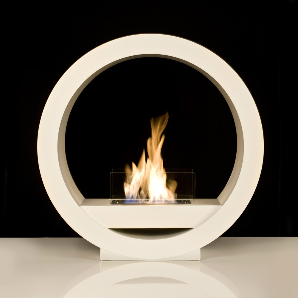 White Globe Flame Bio Ethanol Fireplace