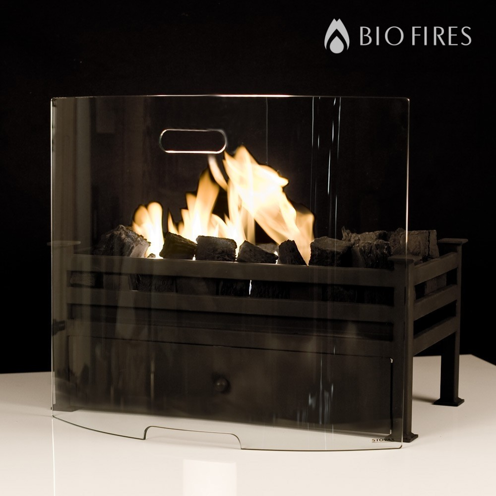 curved glass fireplace screen
